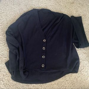 black button up flowy knitted cardigan top